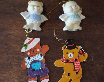 Collection of 4 Vintage  Bear Ornaments/2 Bisque Bears/2 Articulated Cardboard Bears/Made in Taiwan/ 1980s Christmas/ Christmas tree decor