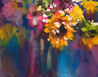 Floral Painting, Watercolor Floral, Painting of Flowers, Sunflower Painting, Colorful Flowers, Colorful Floral Painting