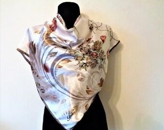 Off White Satin Scarf, Floral Satin Scarf, Pastel Colours Scarf, Vintage Satin Scarf, Floral Print Scarf, 36''/92cm square