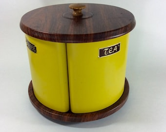 Vintage Canisters on Lazy Susan-Carousel Canisters