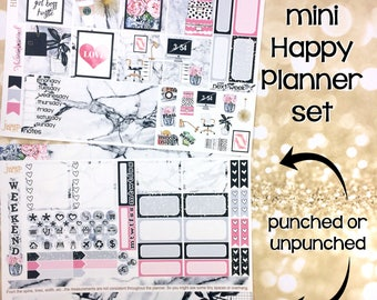 Girl Boss working office set / kit weekly stickers - Happy Planner Mini - marble pink black glam