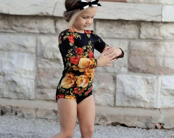 Girls Floral Valentine Leotard, Amber Roses, Ballerina, Bodysuit, Baby Leotard, Toddler Leo, Dance, Gymnastics Leotard, Leotards for Girls