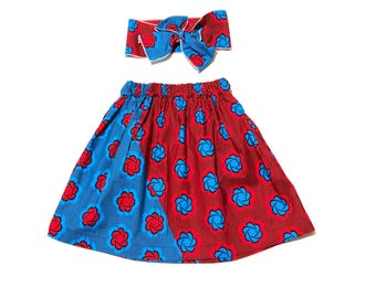 Red and Blue African Skirt, Headwrap, African Baby Clothes, Hair Wrap, Hair Accessory, Girls Clothing