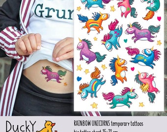 Temporary tattoos «Rainbow unicorns» with little pony, unicorn, rainbow kids tattoos. Unicorn party favors and goodie bags supply.