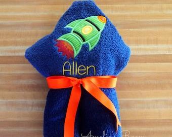 Space Rocket Hooded Towel - Children's Towel, Hooded Towel, Personalized, Applique, Kids Hooded Towel, Beach Towel, Bath Towel, Rocket Ship
