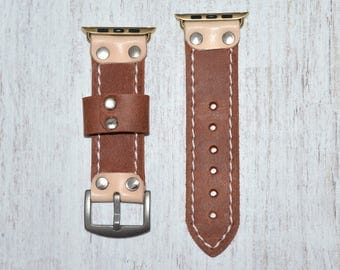 Cognac Leather apple watch band 38mm / 42mm // apple watch accessories - leather apple watch strap - iwatch band leather - lugs adapter