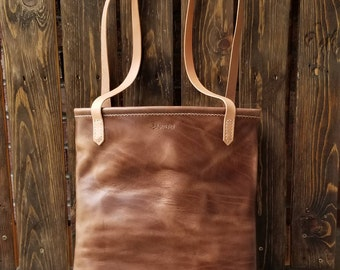 Women's Leather Bag - Women's Purse - Market Tote - Shoulder Bag - Horween Leather - Handmade - Ready To Ship - Colorado - Free Shipping