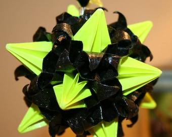 Origami Kusudama Yellow Black Witch Spike Ball Hanging Ornament