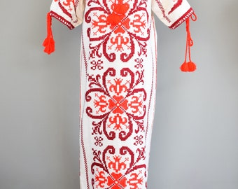 Hand Embroidered Mexican Kaftan. Mexican Embroidered Dress. Vintage Mexican Embroidered Kaftan. Mexican Dress