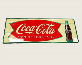 Vintage Coca Cola, Coke Sign, Fishtail Tin Sign, Antique Coca Cola Sign, Coke Collectible, Vintage Signage, Old Tin Signs, Coke Memorabilia