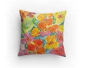 Floral Pillow, Decorative Pillow, Throw Pillow, Watercolor Flower Design, with Pillow Insert 14 x14 inches