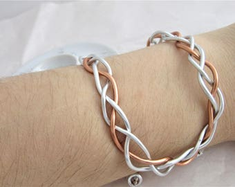Copper and Silver Braided Double Wire Cuff Bracelet. Wire Wrapped, Bangle, Braid, Plait, Hand Plaited, Adjustable, Long Bracelet