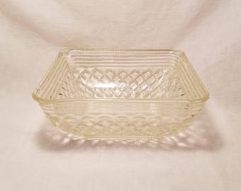 FEDERAL SQUARE BOWL Clear Glass Diamond Lattice Criss-Cross Candy Basket Weave Serving Country Kitchen Farmhouse Vintage