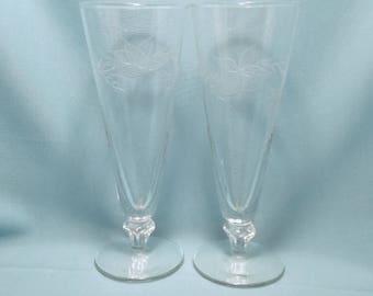BEER PILSNER GLASSES Etched Vine Leaves Parfait Retro Mid-Century Modern Footed set of 2 Vintage Retro