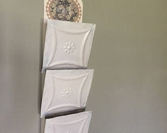 Vintage mail holder, exclusive one of a kind, wall mail sorter.  Made from antique ceiling tiles affixed to each slot.