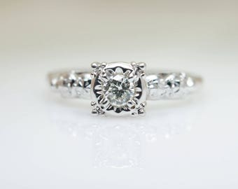 1940's Illusion Set Vintage Diamond Solitaire Engagement Ring in 14k White Gold, 1940s diamond engagement vintage white gold 1940 solitaire