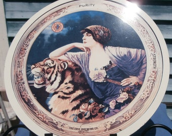 wall decor girl and tiger ,Beer sign , metal circle Erie Brewing Co sign,Bengal tiger/old fashion,exotic girl