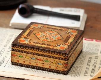 Small Wooden Box - Jewelry Box - Keepsake Box - Hand Carved Box - Memory Box - Vintage Jewellery Box - Small Jewelry Box - Box with Lid