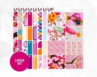 September in Nigeria Large Kit | Full Boxes Checklists Functional Boxes Headers Littles Sidebar Extras Washi | Matte Glossy Planner Stickers