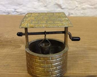 Vintage Brass Wishing Well - Wish You Well Ornament , Made In England Good Condition