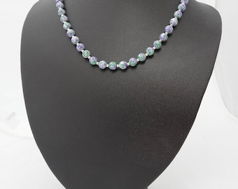 Lavender and Green Porcelain Necklace