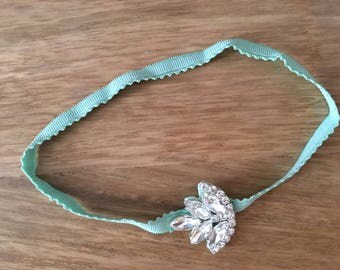 Baby Headband with Rhinestone Embellishment. Mint