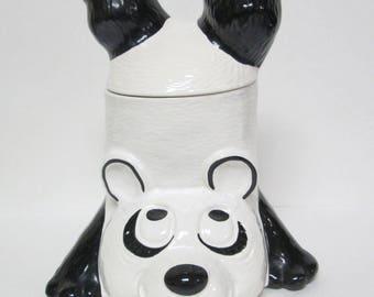 Vintage Panda Bear Ceramic Cookie Jar Upside Down McCoy