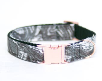 """The """"Grey Marble"""" collar (with Rose gold hardware)"""