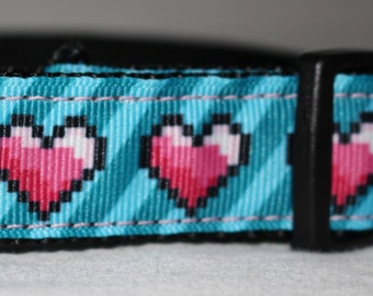 "Pink Heart Design Dog Collar - Side Release Buckle (1"" Width) - Martingale Option Available"