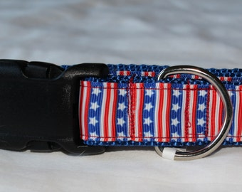 """Patriotic Stars and Stripes Dog Collar - Side Release Buckle (1"""" Width) - D-Ring Martingale Option Available"""