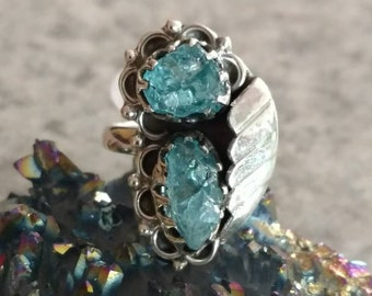Neon Blue Apatite Ring Size 7