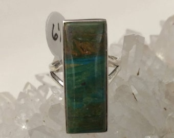 Genuine Peruvian Blue Opal  Ring, Size 6 1/2