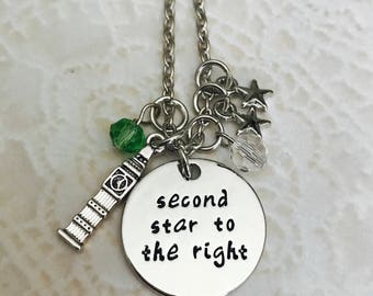 Peter Pan second star to the right charm necklace