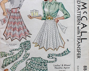 Vintage Uncut 1940s Apron Sewing Pattern - McCall 884