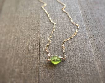 14k gold filled or sterling silver green peridot nugget necklace / bridesmaid necklace / dainty / minimalist / tiny / August birthstone