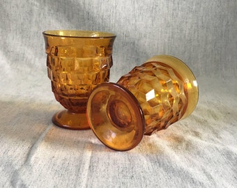 Vintage Amber Colony Whitehall Tumblers, Set of 2, 8 Ounce Cubist Glasses