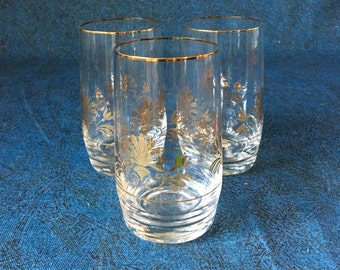 Vintage Gold Trimmed Bohemian Juice Glasses, Set of 3