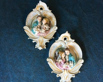 Vintage Victorian Couple Wall Plaques with Dresden Style Lace, Set of 2
