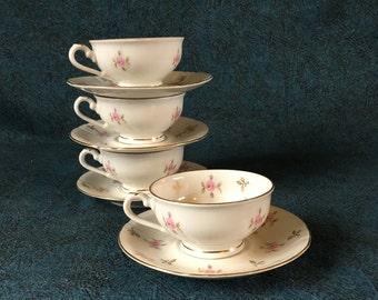 Vintage Winterling Bavaria Childs Pink Rose Tea Cups and Saucers, Set of 4
