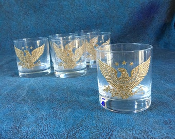 Vintage Gold American Eagle Old Fashioned Glasses, Set of 6, Anchor Hocking