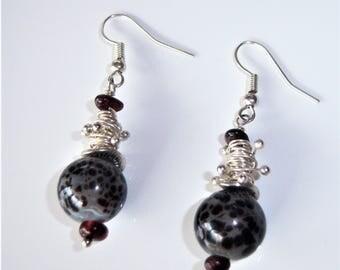 Garnet wire wrap, speckled, ceramic bead dangle earrings