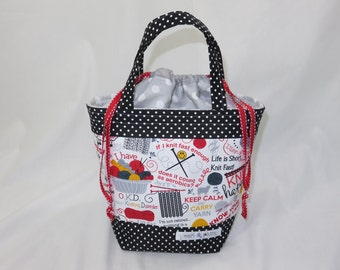 Medium Knitting Project Bag // Alyson Mini Tote // Kniticisms