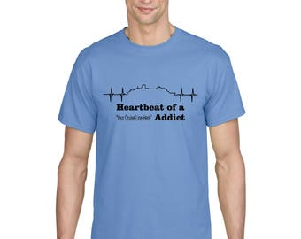 Heartbeat of a Cruise Addict customizable vacation holiday travel tshirt