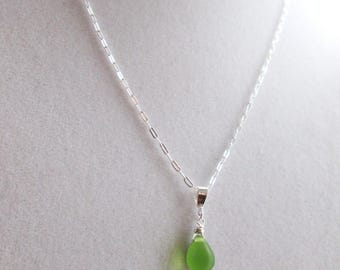 Bottle Green Sea Glass Pendant, Green Seaglass Necklace, Sterling Silver Necklace, Simple Necklace, Mermaid Tears, Pretty Green Necklace