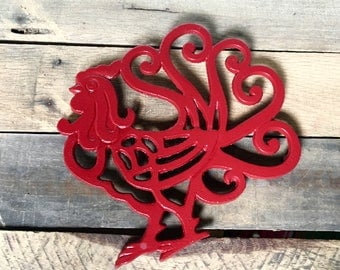 Thanksgiving Table Decor - Rustic Rooster Decor - Hostess Gift - Farmhouse Kitchen Wall Decor - Cast Iron Trivet - Rooster Kitchen Decor