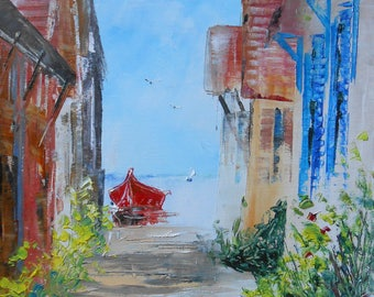 """Painting marine """"Peace after the holidays in the oyster village"""""""