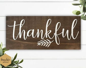 "thankful wood sign, 12""x5.5"", script font sign, fall home decor, autumn home decor, vinyl and wood, rustic wood, shelf sitter, mantle decor"