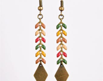 Shades of beige, green, mustard yellow and Brown ear chain earrings