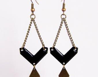 Black enameled chevron and diamond brass earrings