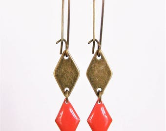 Brass diamond shape and enamelled diamond stud earrings orange